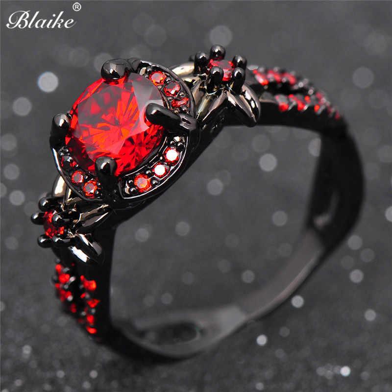 Blaike Мода цветок форма черное золото кольца для женщин бутик круглый  красный циркон обручение Jewelry камень fdaf9345f9dfd