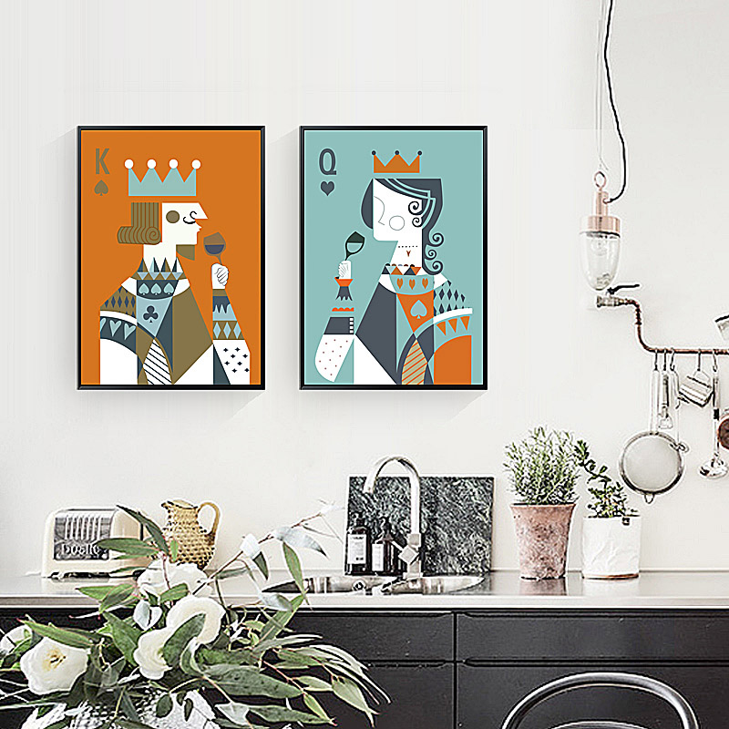 SD LINLEEHON Queen king playing cards Posters For Home Decoration Wall Decor Prints Canvas Art Painting Pictures  Unframed