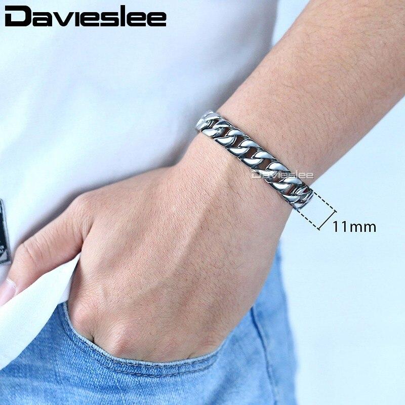 Davieslee Herren Armband Kette Curb Link 316L Edelstahl Armbänder - Modeschmuck - Foto 3