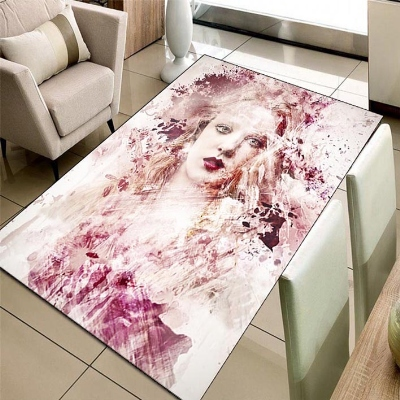 Else Pink Beautiful Model Girls Flowers 3d Print Non Slip Microfiber Living Room Decorative Modern Washable Area Rug Mat