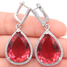 Big Water Drop 20x15mm Pink Tourmaline White CZ Ladies Silver Earrings 43x19mm