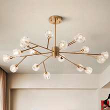 Модные прозрачные хрустальные подвесные светильники в скандинавском стиле, современные потолочные светильники для гостиной, спальни, ресторана, G9, светодиодные железные подвесные светильники