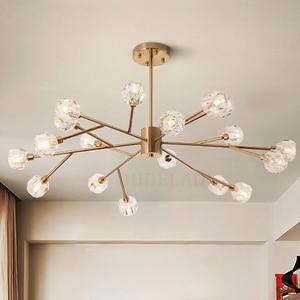 Image 1 - Nordic fashion transparent crystal Pendant Lamps modern living room ceiling lamps bedroom restaurant G9 LED Iron pendant lights