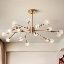 İskandinav moda şeffaf kristal kolye lambaları modern oturma odası tavan lambaları yatak odası restoran G9 LED demir kolye ışıkları