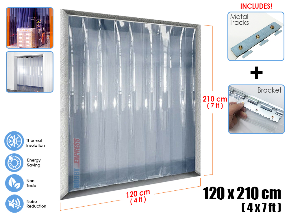 Arrowzoom 4 x 7 ft 120 cm x 210 cm PVC Strip Plastic Curtain Warehouse Freezer