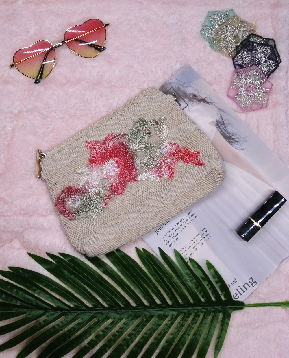 2019 Hand Made New design Handbag Ladies bags Dye Embroidery Rose/Butterfly sequin 2 in 1 Purse Chain shoulder girl Cosmetic bag