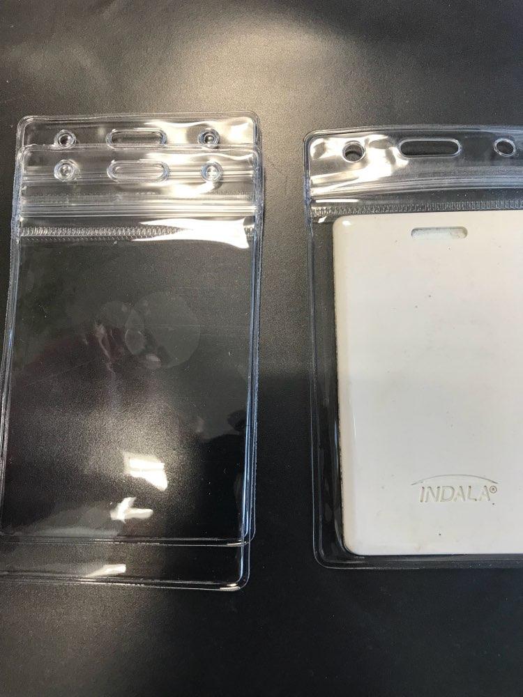 5 x duidelijk handige transparante pvc-badge werkbeurs id-naam waterdichte kaarthouders koffer zonder rits casual stevige houders photo review