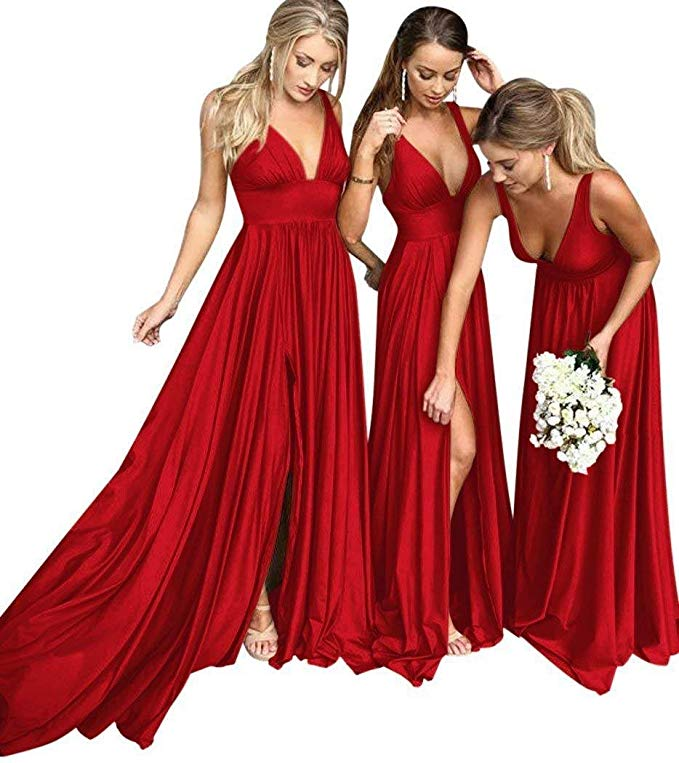 Cinderella Red V-Neck A-Line Elastic Satin Pleated Court Train Mermaid   Bridesmaid   Gown Sexy   Bridesmaid     Dresses