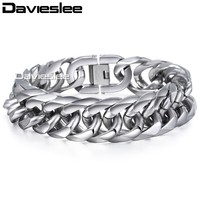 18mm Heavy Cut Double Curb Link Rombo Silver Tone Mens Chain Boys 316L Stainless Steel Bracelet