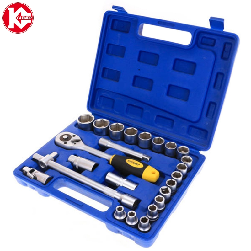 Kalibr NSM-24, 24pc Spanner Socket Set Car Vehicle Motorcycle Repair Ratchet Wrench Set Cr-v hand tools newacalox multitool pliers pocket knife screwdriver set kit adjustable wrench jaw spanner repair survival hand multi tools mini