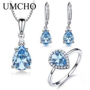 Комплект ювелирных изделий UMCHO, кольцо с синим топазом, серьги с подвеской из стерлингового серебра 925 пробы, Дамский ювелирный набор с эмаль...