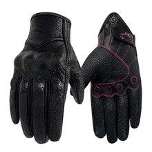 Guantes de cuero para motocicleta para Mujer, protector de manos para Motocross, con pantalla táctil, para verano