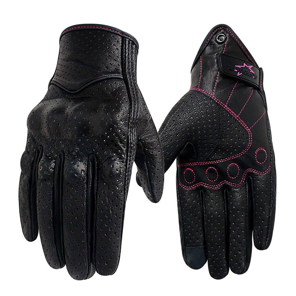 Мотоциклетные перчатки для женщин, кожаные перчатки для сенсорных экранов XS S M, для езды на велосипеде, летние