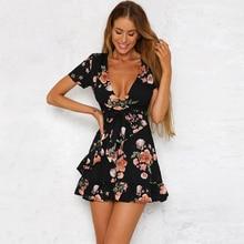 2017 OYDDUP Bohemian style sexy deep V black printing dress Short Sleeve Irregular Hem Ruffles Belt Beach Casual dress