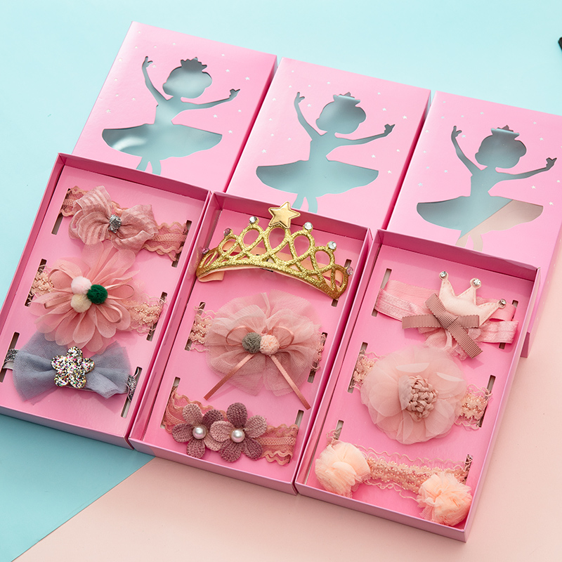 3pcs Set Children Hair Belt Gift Box Set Princess Girls Lovely Flower Crown Lace Headdress Newborn BB Headband Hair Accessories in Hair Accessories from Mother Kids