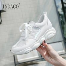 2019 Shoes Woman Leather Women White Breathable Sneakers Designer Casual 4cm