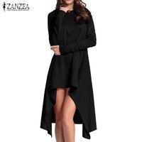 ZANZEA Women Solid Hoodies Asymmetrical Hem Long Shirt Dress Autumn Hooded Long Sleeve Loose Casual Party