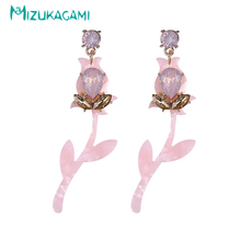 Pendientes Mujer Brincos Fashion Originality Plant Flower Women Powder Drop Earrings Alloy Material For Elegant Design Jewelry