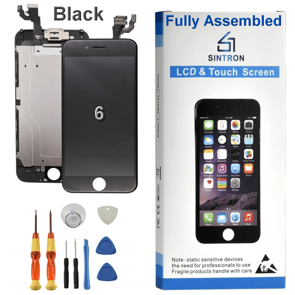 Sintron OEM For <font><b>iPhone</b></font> <font><b>6</b></font> <font><b>Screen</b></font> Replacement Fully Assembled Black Panel Display Including Original Parts With Free Repair Tools image