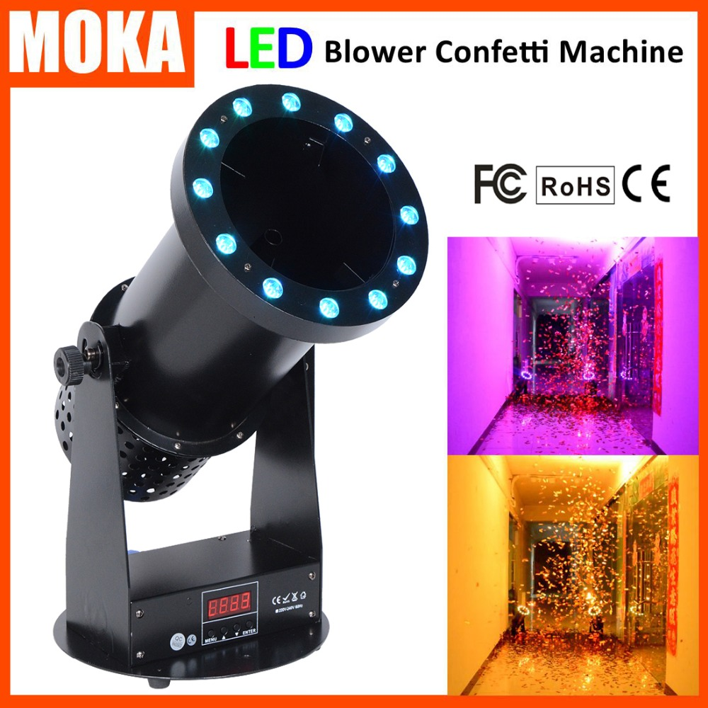 все цены на 15*3W RGB led lamp lighting effect confetti blaster cannon 1500w LED confetti machine DMX Confetti Launcher for wedding party