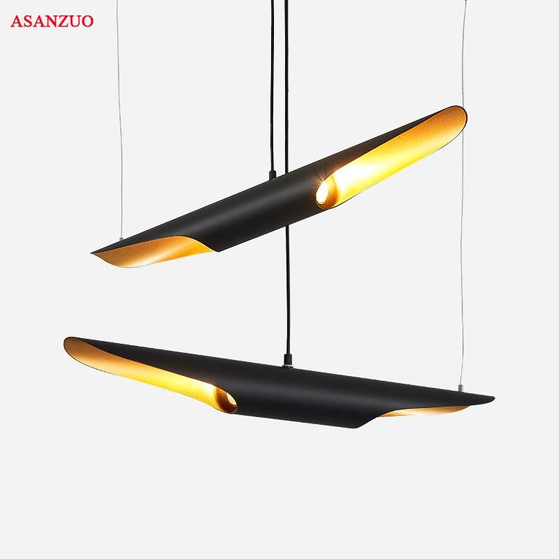 Modern loft LED hanging lamp light fixture gold black wing aluminum tube pendant lamp light for Living Room Suspension Luminaire in Pendant Lights from Lights Lighting