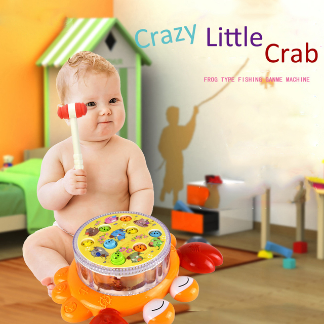 Children Plastic Electric Crab Music Knocking Educational Toys Oyuncak  Playing Hamster Game Fun For kids baby Early Learning