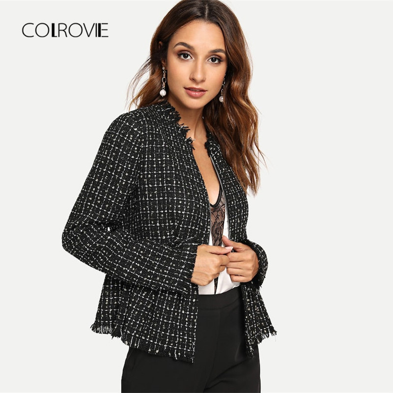 COLROVIE Black Solid Zip Up Elegant Tweed Peplum Plaid   Basic     Jacket   Women 2018 Autumn Female Coats Women Office Lady Outwear