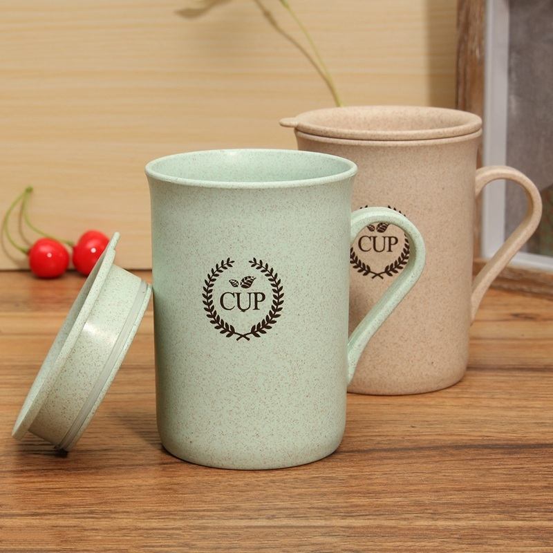 Stylish 320ml Coffee Mugs Tea Cup Wheat Straw Round Plastic Tumblers Cup Mugs Water Bottle Kettle
