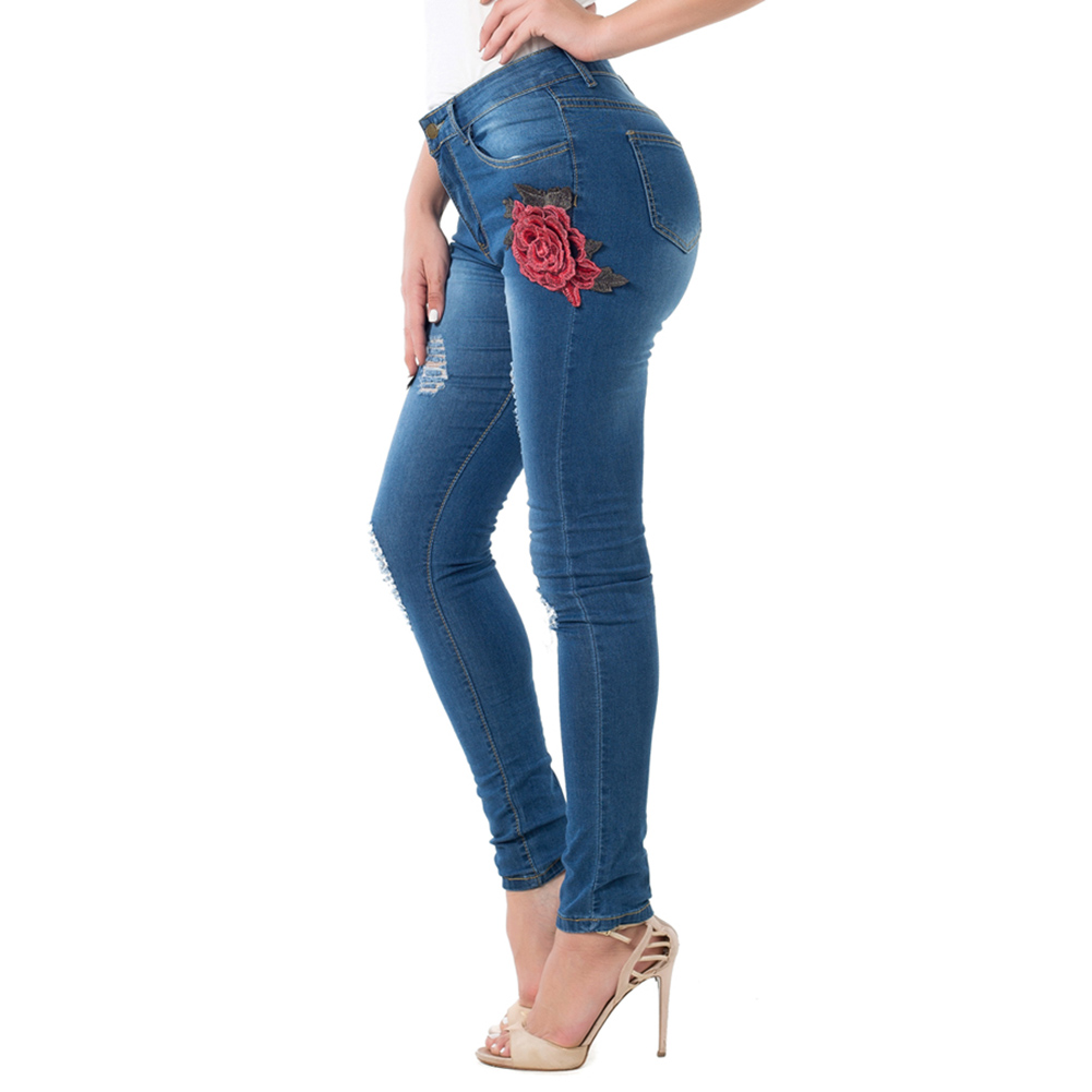 New Female Casual Sexy Rose Denim Jeans with Embroidery Ripped Vintage Pencil Jeans for Women Cuffs Long Pants Plus Size 2XL new female casual sexy rose denim jeans with embroidery ripped vintage pencil jeans for women cuffs long pants plus size 2xl