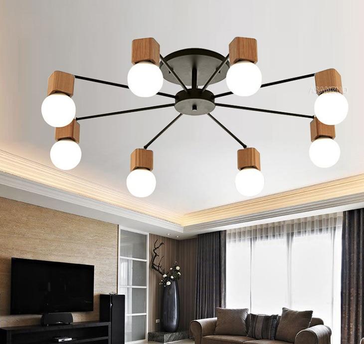 Nordic iron wood ceiling Light Modern home Living Room Bedroom aisle LED Ceiling Lamp Luminaire Lampara Techo