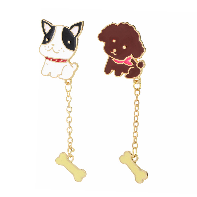 Creative Fashion Porcelain Cute Dog Bone Brooch Gold Teddy Bear/Bulldog Dog Chain Brooch Denim Jacket Lapel Badge
