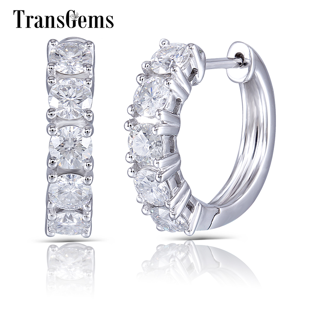 Transgems Genuine Solid 10K White Gold Hoop Earrings 3.5mm GH Color Moissanite Hoop Earrings for Women Fine Jewelry Gift glitter hoop stud earrings