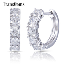 Transgems Genuine Solid 10K White Gold Hoop Earrings 3.5mm GH Color Moissanite for Women Fine Jewelry Gift
