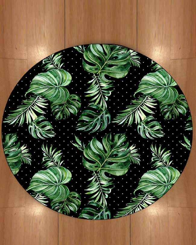 Else Black Floor On Big Green Leaves White Dots Floral 3d Print Anti Slip Back Round Carpets Area Rug For Living Rooms Bathroom