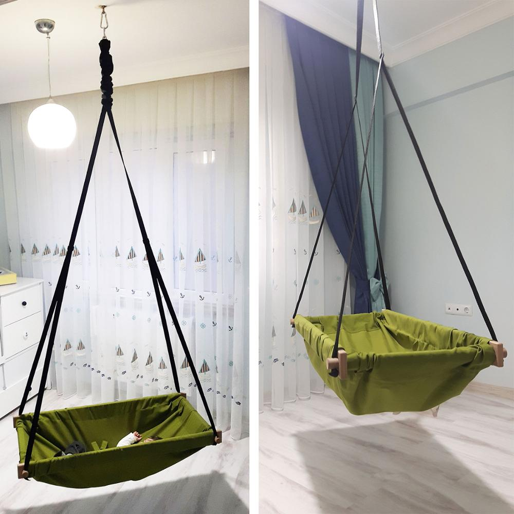 Hanging Toddler Baby Wooden Porch Swing Hammock Cradle For Indoor And Outdoor Svava Jumper Wooden Hammock Swing Cradle