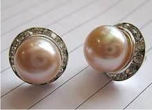Boucles d'oreilles en perles blanches/roses/noires, 9-10mm, nouveau, livraison gratuite