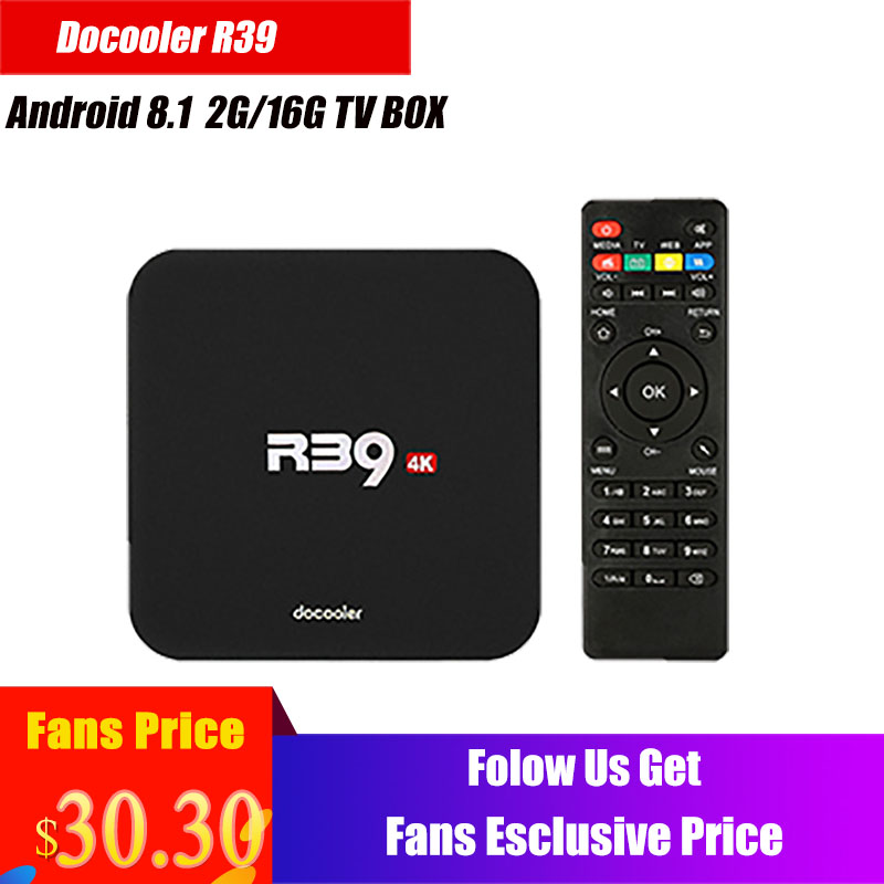 Docooler R39 TV Box Android 8.1 RK3229 Quad Core Smart TV Android Box 4K 2GB/16GB WiFi H.265 HD Media Player PK X96 Box TV bnc video balun passive transceiver coax cat5 camera utp cable coaxial adapter for 200 450m distance ahd hdcvi tvi camera