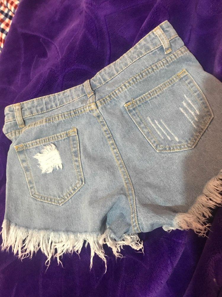2016 European and American BF summer wind female blue high waist denim shorts women worn loose burr hole jeans shorts