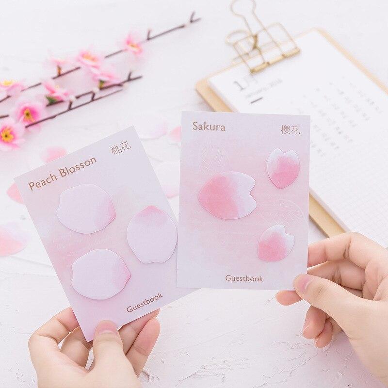 30 sets/1 lot Creative Sakura petals Memo Pad Sticky Notes Escolar Papelaria School Supply Bookmark Post it Label
