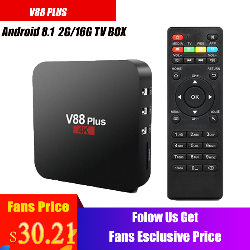 V88 Plus Smart TV Box RK3229 Quad Core 4K TV Box Android 8.1 USB2.0 2GB16GB WiFi LAN HD Media Player
