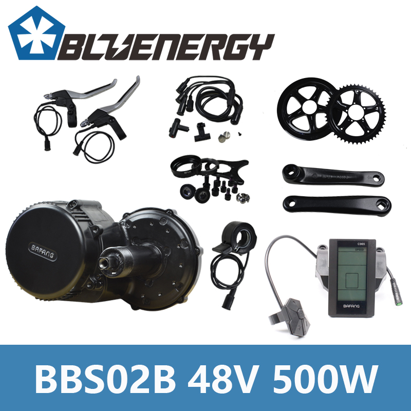 48V 500W Bafang 8Fun BBS02B Mid Crank Drive Motor Kits Electric Bike Conversion Kit With C961/C965/850C Display free shipping authentic bafang 36v 350w electric bicycle bbs01 mid crank drive motor kit ebike c965 color 850c lcd conhismotor