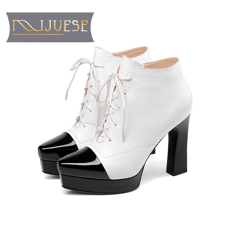 MLJUESE 2019 women ankle boots cow leather lace up zippers winter short plush mixed colors pointed toe platform women boots moraima snc winter fashion women lace up boots flower print mixed colors metal decoration platform round toe gladiator boots