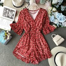 NiceMix 2019 Fashion V Neck Bandage Jumpsuit Casual Sexy Women Summer Tie Long High Waist Romper Full Length Sashes Solid Overal(China)