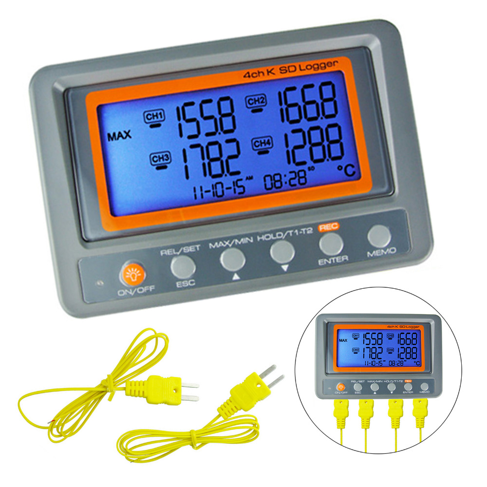 88598 Digital 4 Channel K-Type Thermocouple Thermometer -328~2498 degree C/F SD Card Wallmount Data Logger LED Alarm цена