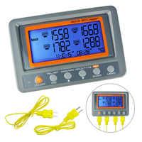 Termómetro termopar Digital de 4 canales tipo K, 88598 ~ 328 grados, con alarma LED y tarjeta SD C/F, registrador de datos Wallmount, 2498