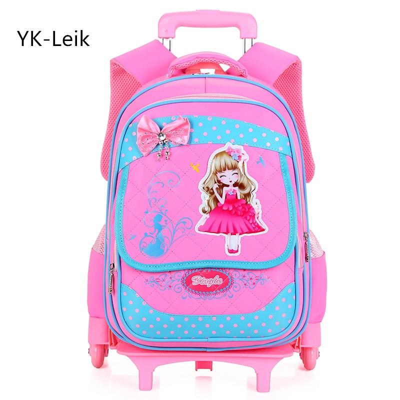 где купить YK-Leik 2017 children cute cartoon cute school bags for girls Fashion travel trolley bag backpacks wheeled bag School backpack по лучшей цене