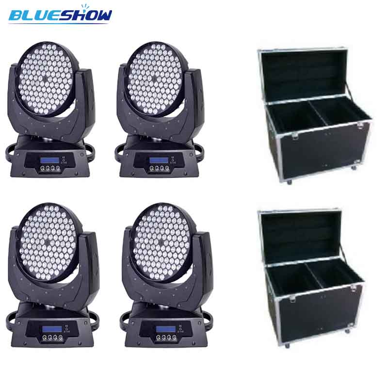 no tax custom 4pcs+2 flightcase, LED moving head wash rgbw light zoom 108x3W stage ktv disco nightclub professional lighting