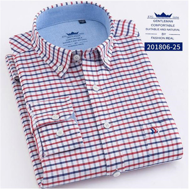 4f0f4f1042 2018 Men's Long Sleeve Oxford Dress Shirtwith Oxford Wash Plaid Shirts 100% Cotton  Casual Design Men's Dress Shirts