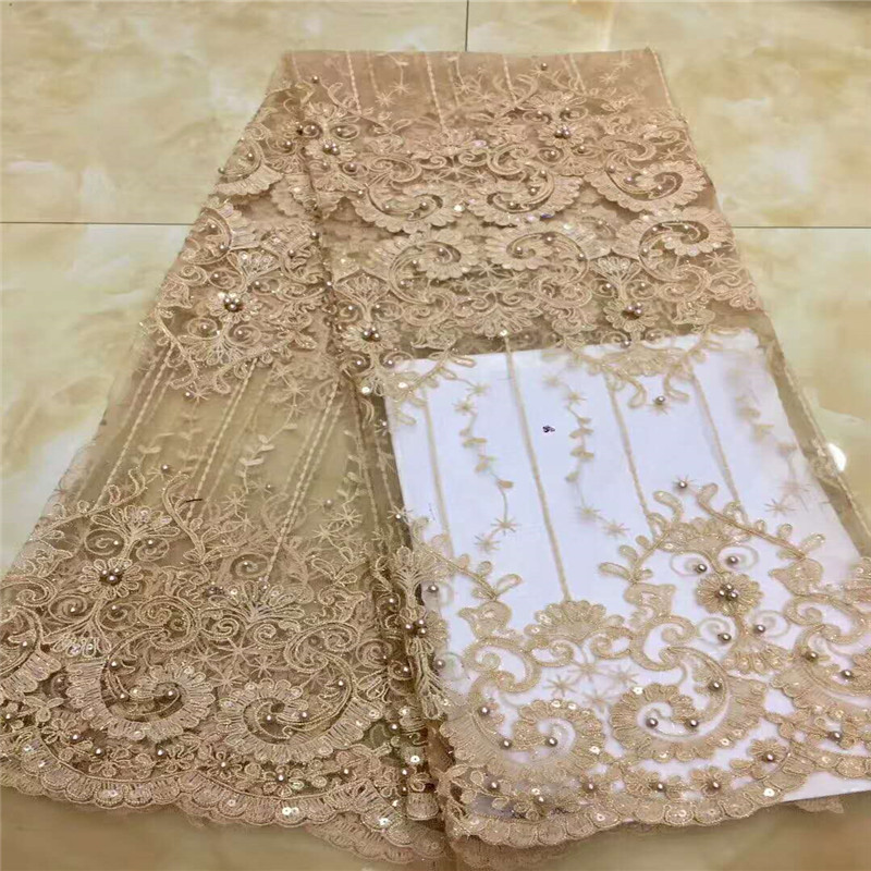New Arrival Gold African Embroidered Mesh Laces Beaded High Quality French Tulle Lace Fabric For Nigerian Wedding X937-8New Arrival Gold African Embroidered Mesh Laces Beaded High Quality French Tulle Lace Fabric For Nigerian Wedding X937-8