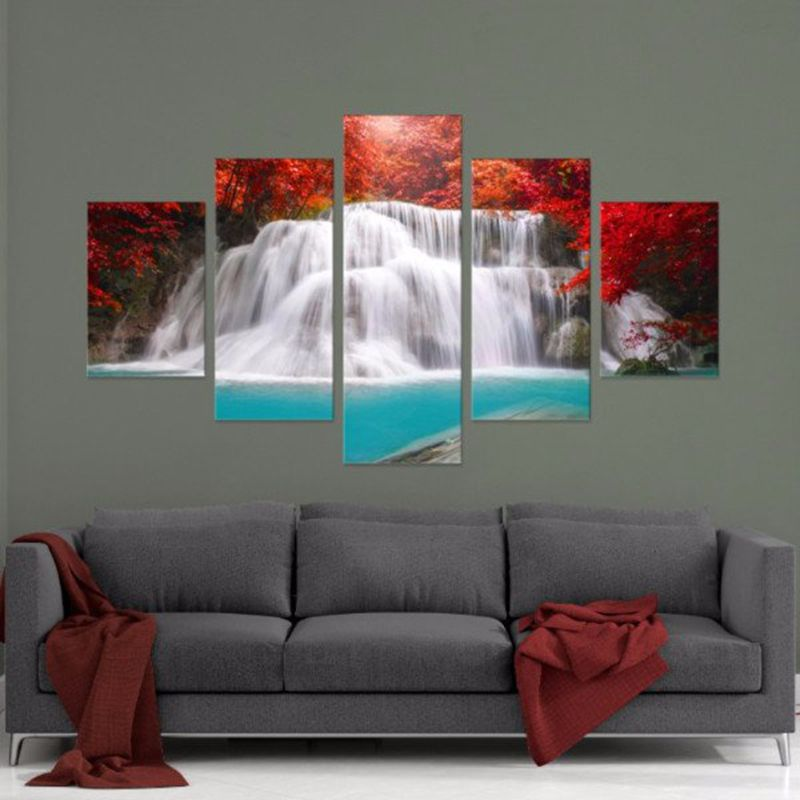 Home Decorative Framework HD Printed Paintings Wall Art Pictures 5 Pieces Red Oasis Waterfall Landscape Pictures Canvas Poster in Painting Calligraphy from Home Garden
